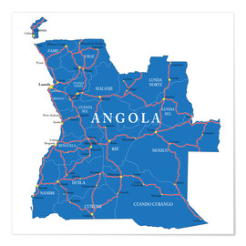 Premiumposter map Angola