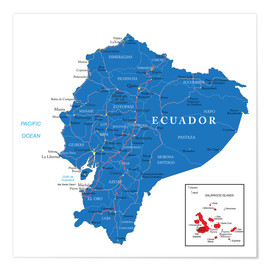 Premiumposter map Ecuador