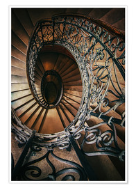 Premiumposter Spiral staircase with ornamented handrail