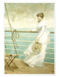 Premiumposter Lady on the Deck of a Ship