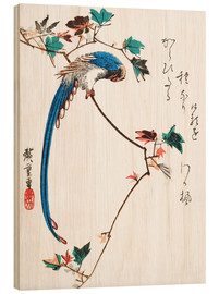 Trätavla  Blue magpie on maple branch - Utagawa Hiroshige