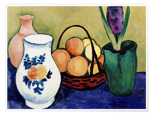 Poster The White Jug with Flower and Fruit