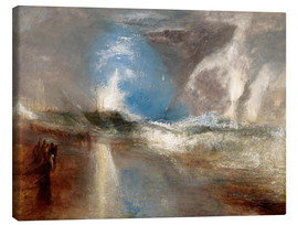 Canvastavla  Rockets and blue lights warn steamboats before shallows - Joseph Mallord William Turner