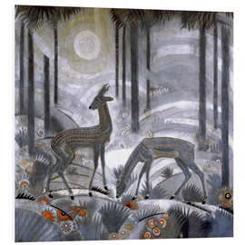 PVC-tavla  Two deer in the woods - Jean Dunand