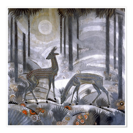 Poster  Two deer in the woods - Jean Dunand