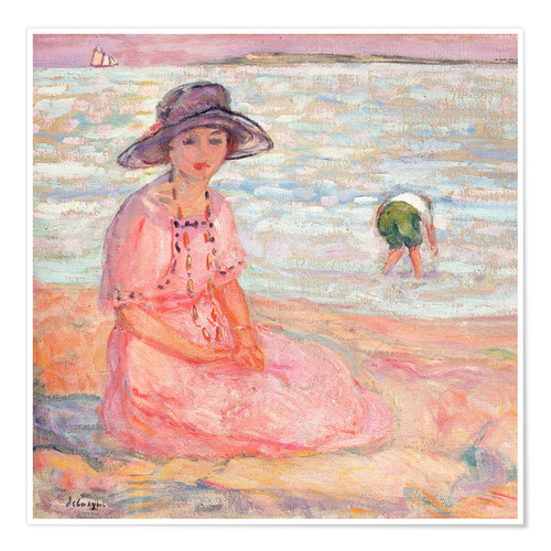 Premiumposter Woman in the Pink Dress by the Sea