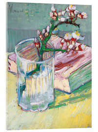 Akrylglastavla  Blossoming Almond Branch in a Glass with a Book - Vincent van Gogh