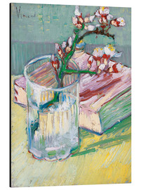 Aluminiumtavla  Blossoming Almond Branch in a Glass with a Book - Vincent van Gogh