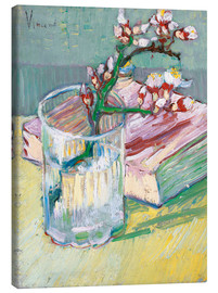 Canvastavla  Blossoming Almond Branch in a Glass with a Book - Vincent van Gogh