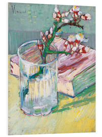 PVC-tavla  Blossoming Almond Branch in a Glass with a Book - Vincent van Gogh