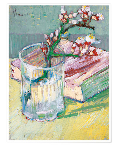 Premiumposter Blossoming Almond Branch in a Glass with a Book