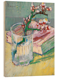 Trätavla  Flowering almond branch in a glass with a book - Vincent van Gogh