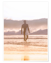 Premiumposter Lonely surfer on the beach