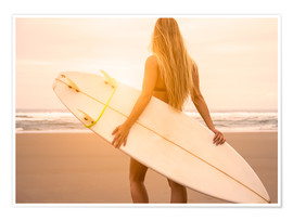 Premiumposter Blonde Surfer