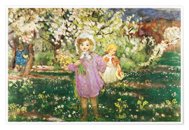 Premiumposter Children in an Orchard in Blossom