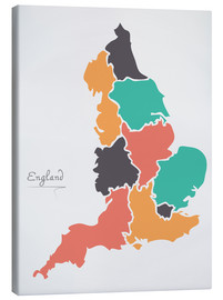 Canvastavla  England map modern abstract with round shapes - Ingo Menhard