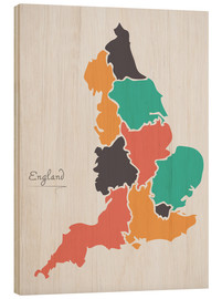 Trätavla  England map modern abstract with round shapes - Ingo Menhard