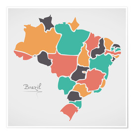 Premiumposter  Brazil map modern abstract with round shapes - Ingo Menhard
