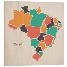 Trätavla  Brazil map modern abstract with round shapes - Ingo Menhard