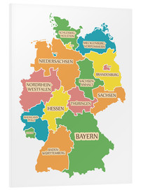 PVC-tavla  Germany map with labels for learning children - Ingo Menhard