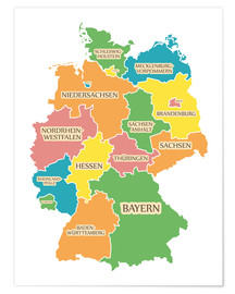 Premiumposter Germany map with labels for learning children