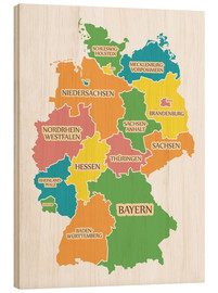 Trätavla  Germany map with labels for learning children - Ingo Menhard