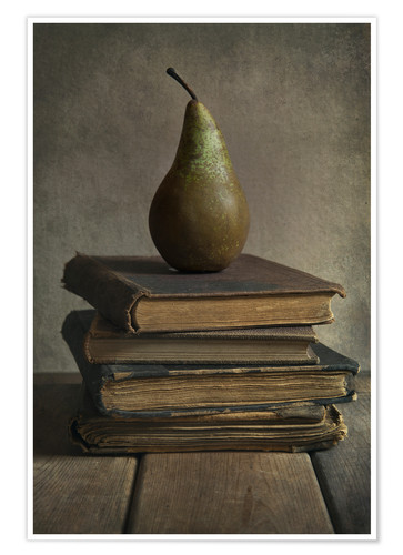 Premiumposter Still life with books and pear