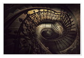 Premiumposter Spiral staircase in brown