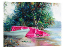 Akrylglastavla  pink boat on side - Jonathan Guy-Gladding