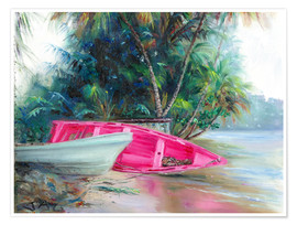 Premiumposter  pink boat on side - Jonathan Guy-Gladding