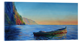 Akrylglastavla  base of petit piton with gommier boat - Jonathan Guy-Gladding