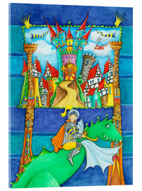 Akrylglastavla  Knights Dragon and the Knight's Castle - Atelier BuntePunkt