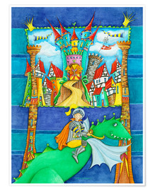 Premiumposter  Knights Dragon and the Knight's Castle - Atelier BuntePunkt