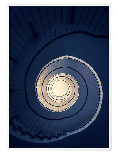 Premiumposter Spiral Staircase in blue colors