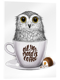 Akrylglastavla  Owl you need is coffee - Nikita Korenkov