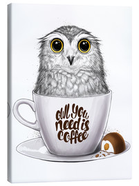 Canvastavla  Owl you need is coffee - Nikita Korenkov