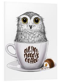 PVC-tavla  Owl you need is coffee - Nikita Korenkov