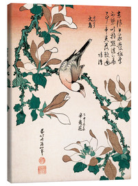 Canvastavla  java sparrow on magnolia - Katsushika Hokusai