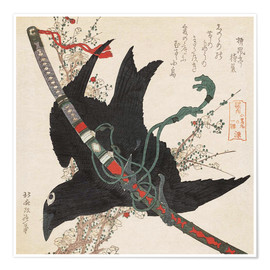 Premiumposter  The Little Raven with the Minamoto clan sword - Katsushika Hokusai