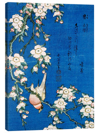 Canvastavla  Bullfinch and weeping cherry - Katsushika Hokusai