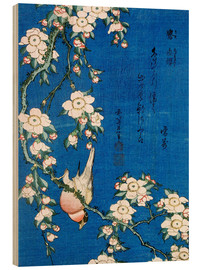 Trätavla  Bullfinch and weeping cherry - Katsushika Hokusai