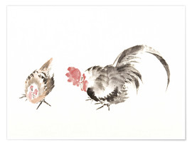 Premiumposter Rooster and hen