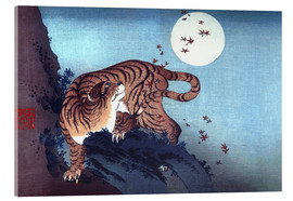Akrylglastavla  Tiger and the Moon - Katsushika Hokusai