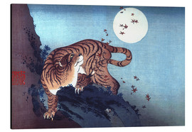 Aluminiumtavla  Tiger and the Moon - Katsushika Hokusai