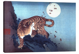 Canvastavla  Tiger and the Moon - Katsushika Hokusai