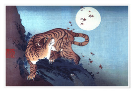 Premiumposter  Tiger and the Moon - Katsushika Hokusai