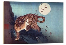 Trätavla  Tiger and the Moon - Katsushika Hokusai