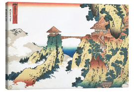 Canvastavla  The Hanging-cloud bridge at Mount Gyodo, Ashikaga - Katsushika Hokusai