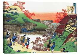 Canvastavla  Houses with thatched roofs - Katsushika Hokusai