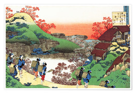 Premiumposter  Houses with thatched roofs - Katsushika Hokusai